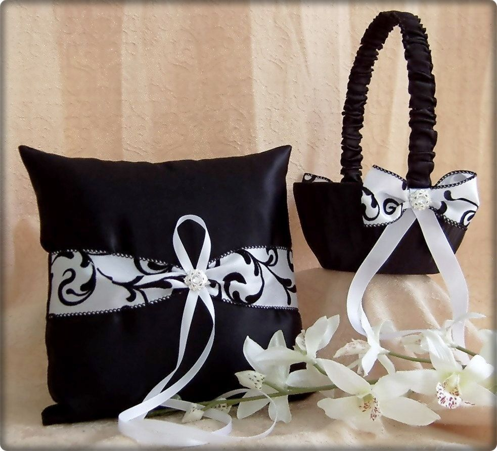 Black And White Damask Wedding Flower Girl Basket And Ring Bearer