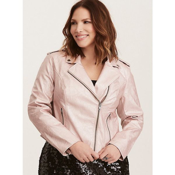 4e9e61bfd0b16 Torrid Rose Faux Leather Moto Jacket ( 99) ❤ liked on Polyvore featuring  outerwear