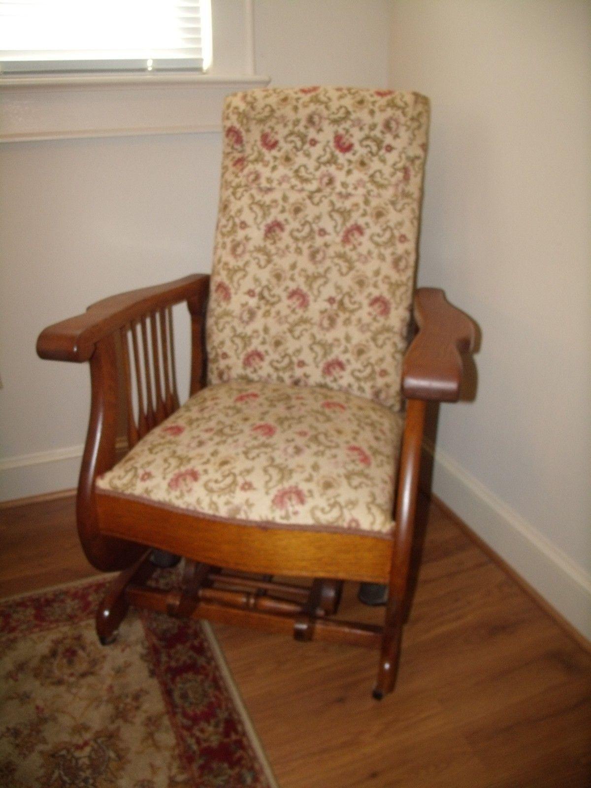 rare antique tiger oak platform rocker reclining chair with foot rh pinterest com