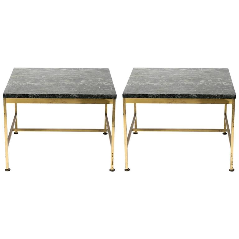Pair of 1970s Paul McCobb Style Brass and Marble Side Tables 1