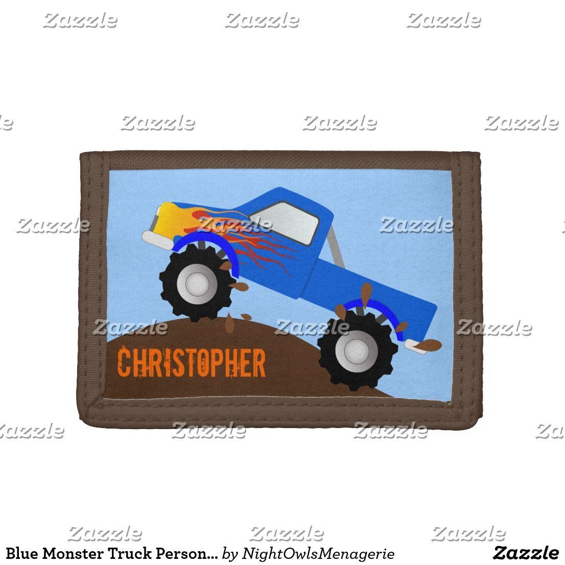 Blue monster truck personalized wallet monster trucks