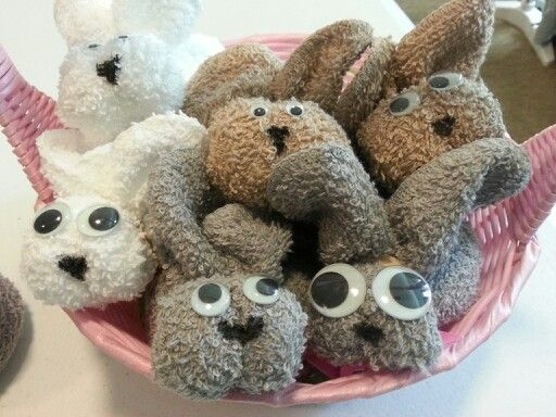 Made with hand towels, rubber bands, and googly eyes. So cute for easter!!