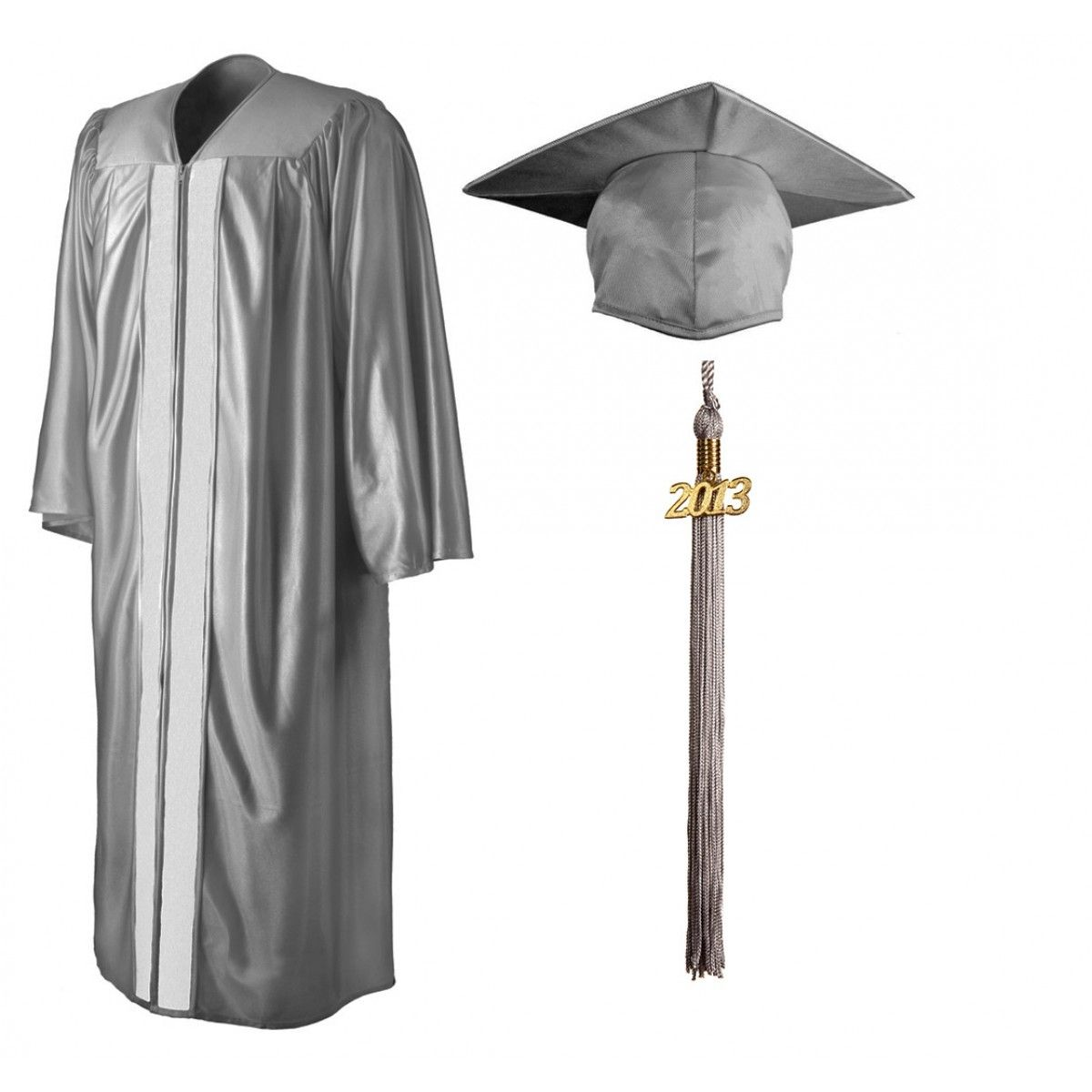 Shiny Silver Cap, Gown & Tassel | GraduationSource Products ...