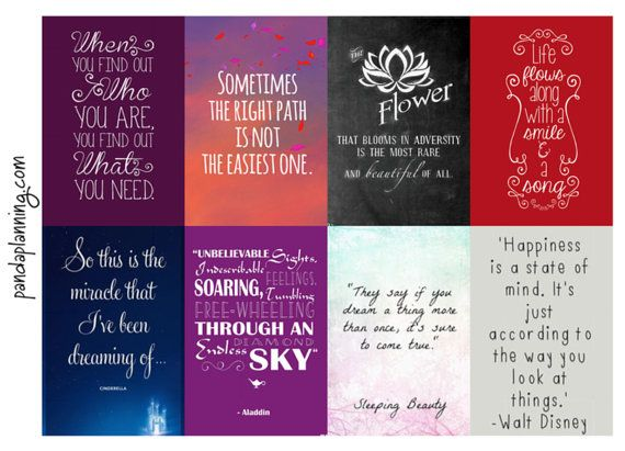 Planner Quote Boxes- Disney happiness full half quarter box flag happy planner erin condren matte glossy weekly planner kit motivational