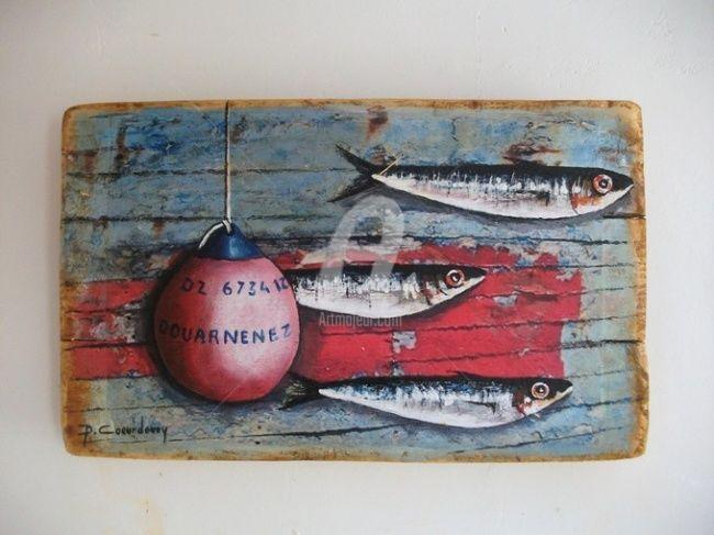 SARDINES ET BOUEE (Peinture) par Philippe Coeurdevey Petites