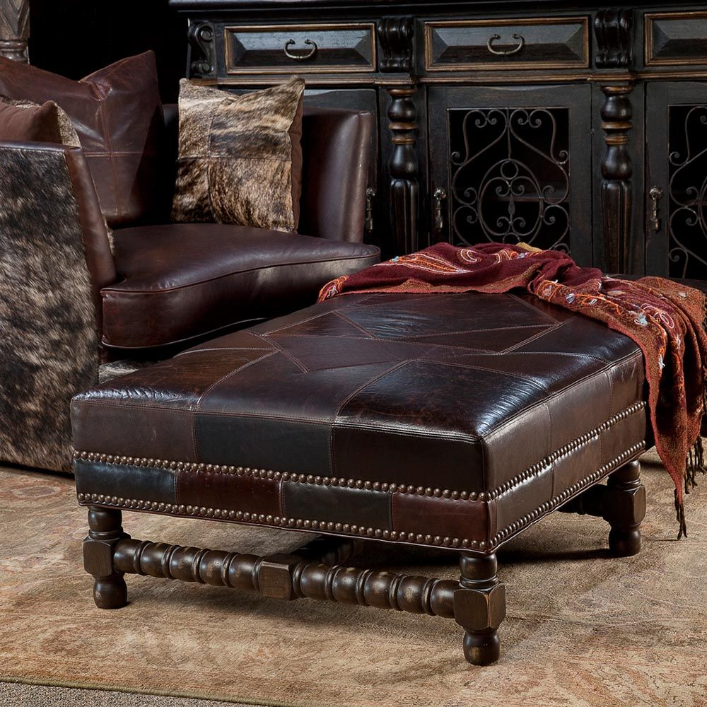 ottoman for living room%0A Rich chocolate leather is used to top this impressive ottoman  Use as an  ottoman or  Leather OttomanLiving Room