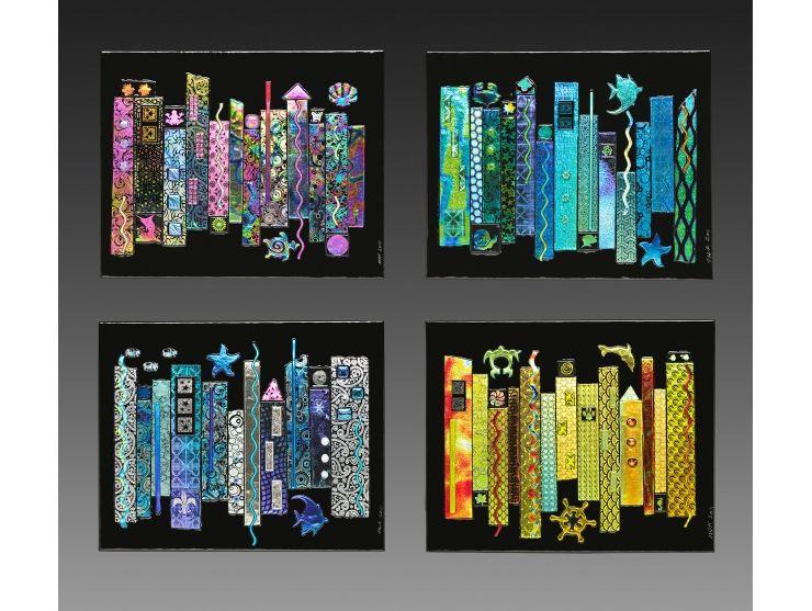 Jazz Seasons Dichroic Fused Glass 4 Panel Wall Art   Panel wall art ...