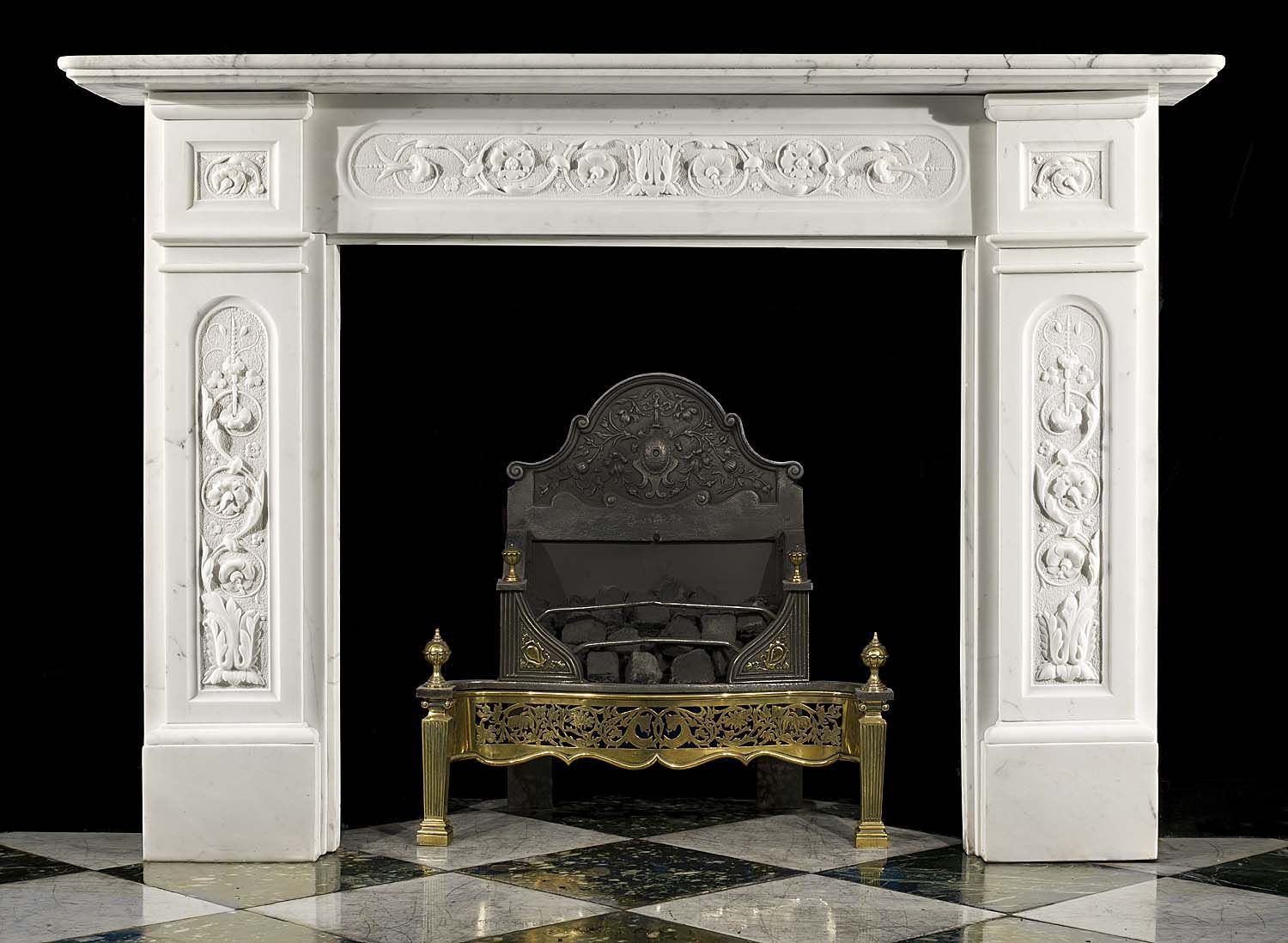 antique statuary marble victorian florally carved fireplace rh pinterest com