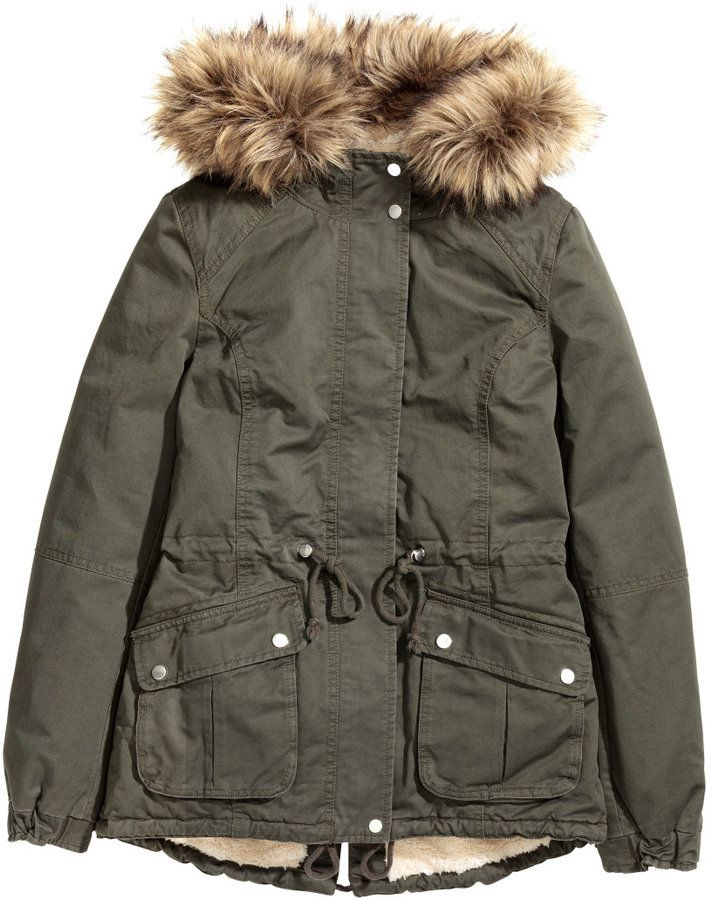 H&M - Pile-lined Parka - Khaki green - Ladies | Parkas | Pinterest ...