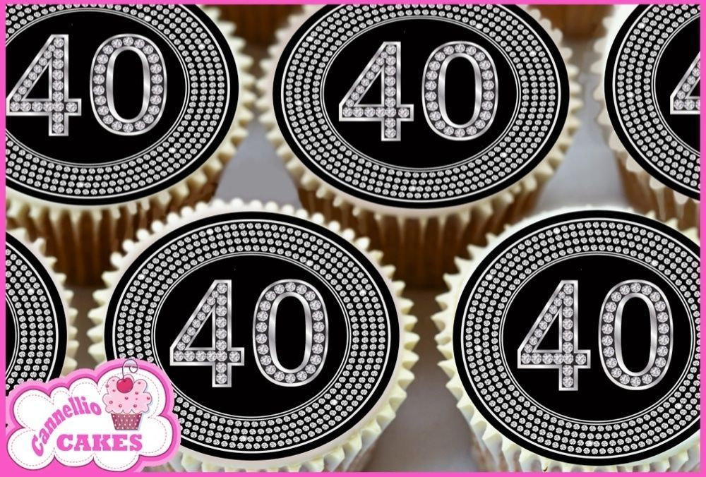 24 x 40th happy birthday black edible cupcake toppers cake