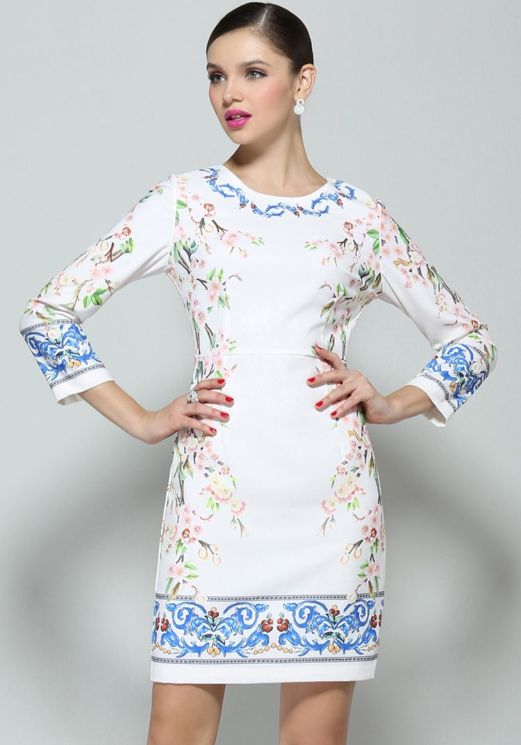 White long sleeve floral bodycon dress clothes pinterest