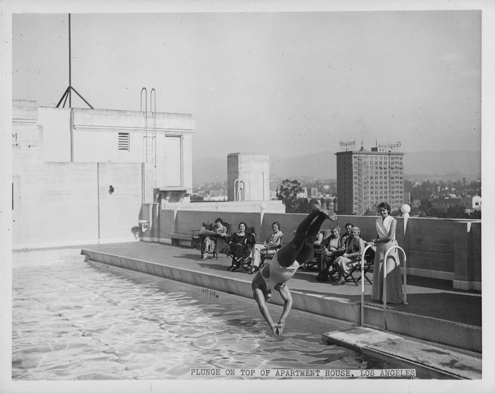 Marvelous Keeping Cool In The Mid Wilshire District (now Koreatown), The Gaylord  Apartment Building, Which Is Visible On The Center Right, Still Stands. Images