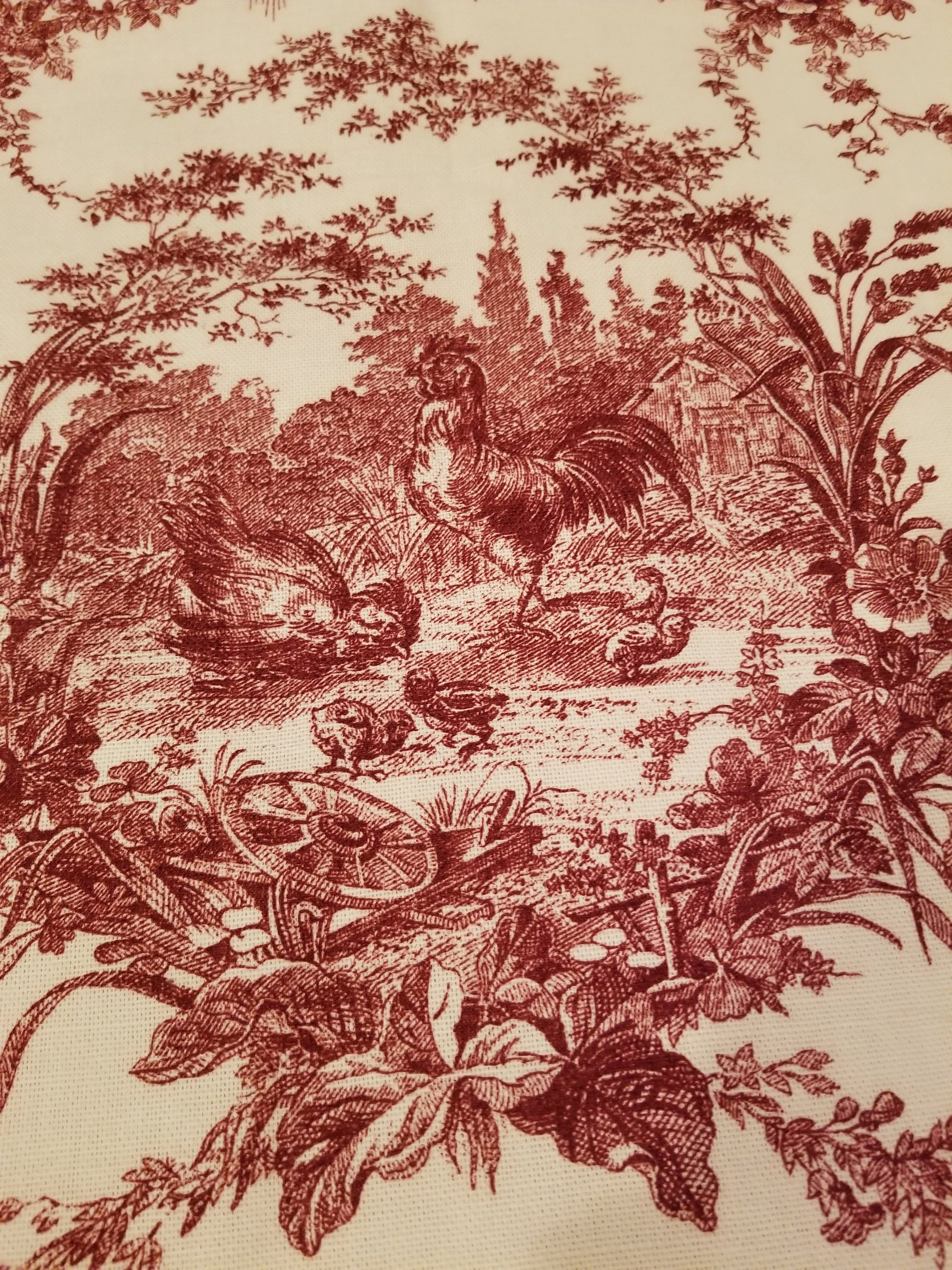 Waverly Rooster Fabric La Petite Ferme Tan Cream And Red Toile Rooster Fabric 4 5 Yards Decorator Fabric By Veryvintagesouthe Fabric Decor Toile Fabric Waverly