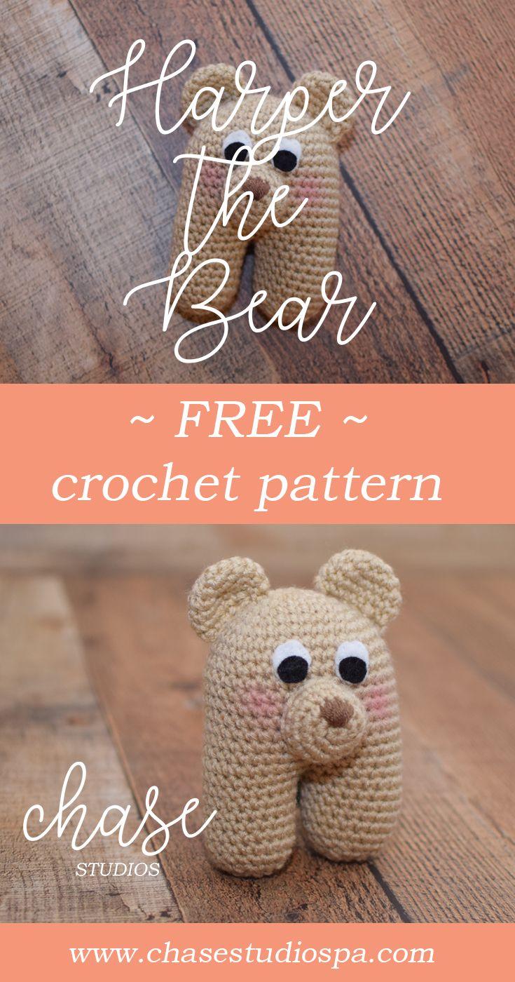 Harper the Bear free crochet pattern bear baby toy yarn handmade ...
