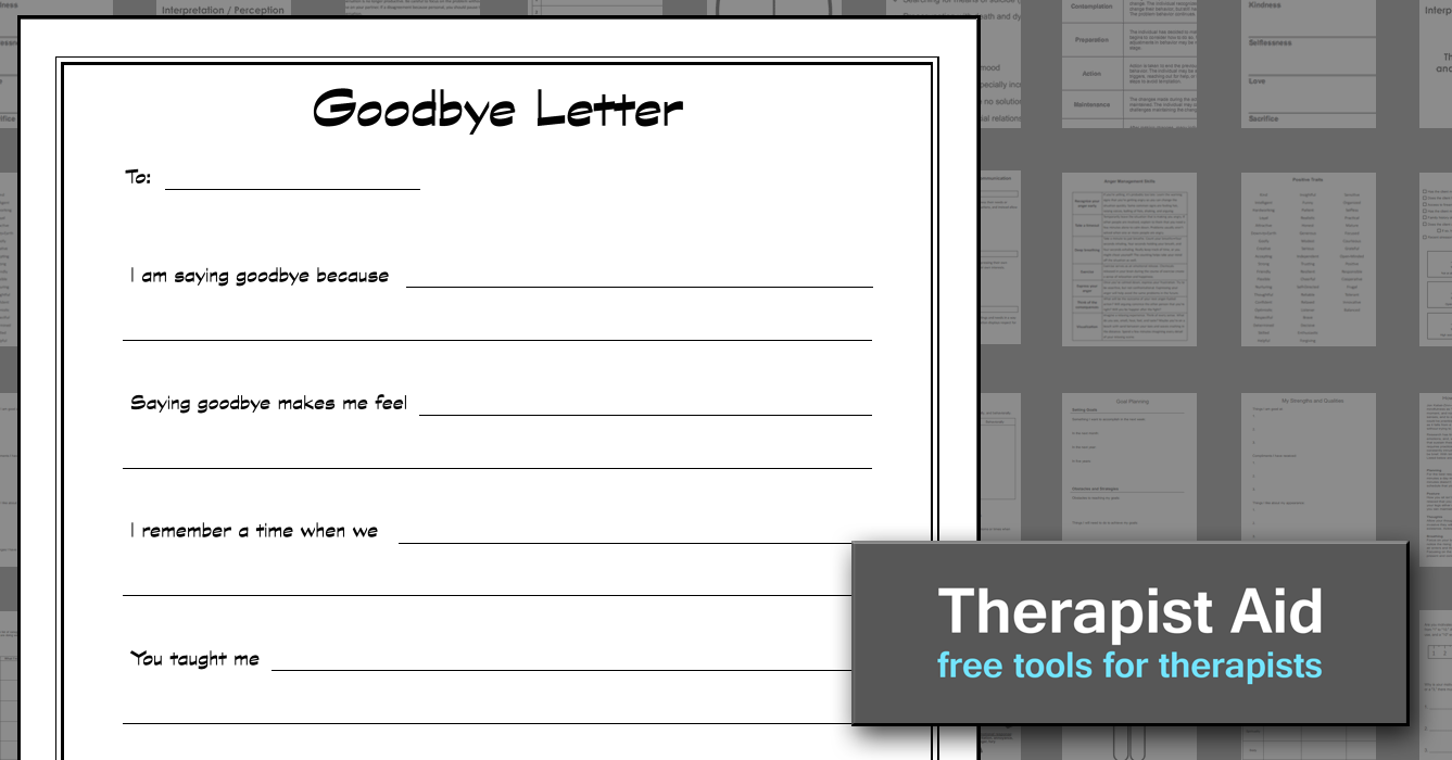 Goodbye Letter | work related | Pinterest | Therapy worksheets ...