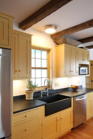 clean and simple omg love the yellow cabinets and the big sink rh pinterest com