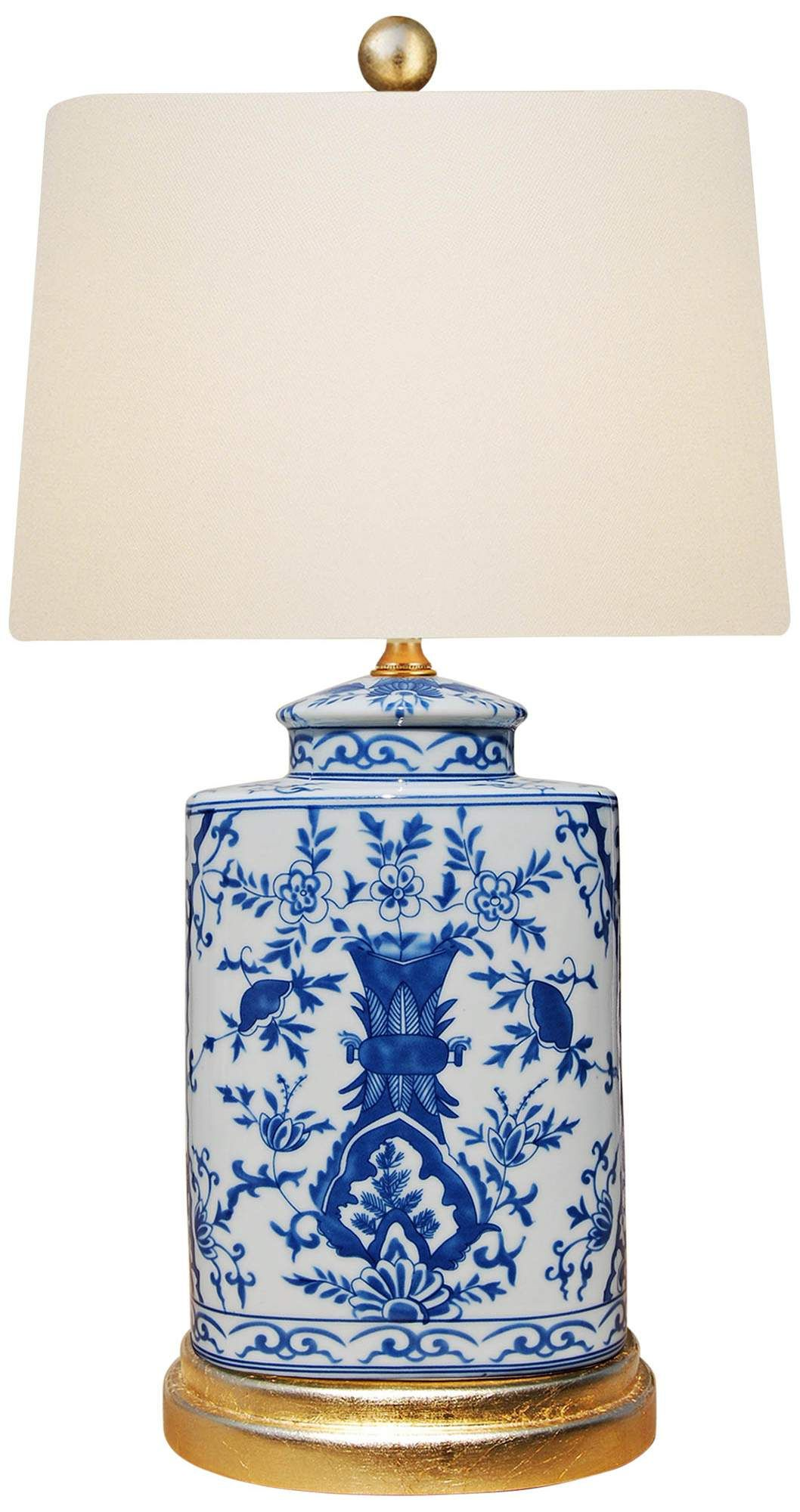 Akeno Blue And White Porcelain Oval Jar Accent Table Lamp Di 2020