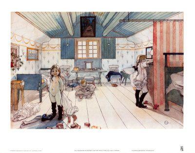 La chambre de karin et des petites  par Carl Larsson aquarelle