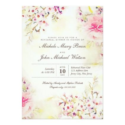 c1b75d663c4c Romantic Floral Boho Rehearsal Dinner Invitation - vintage romantic gifts  ideas diy