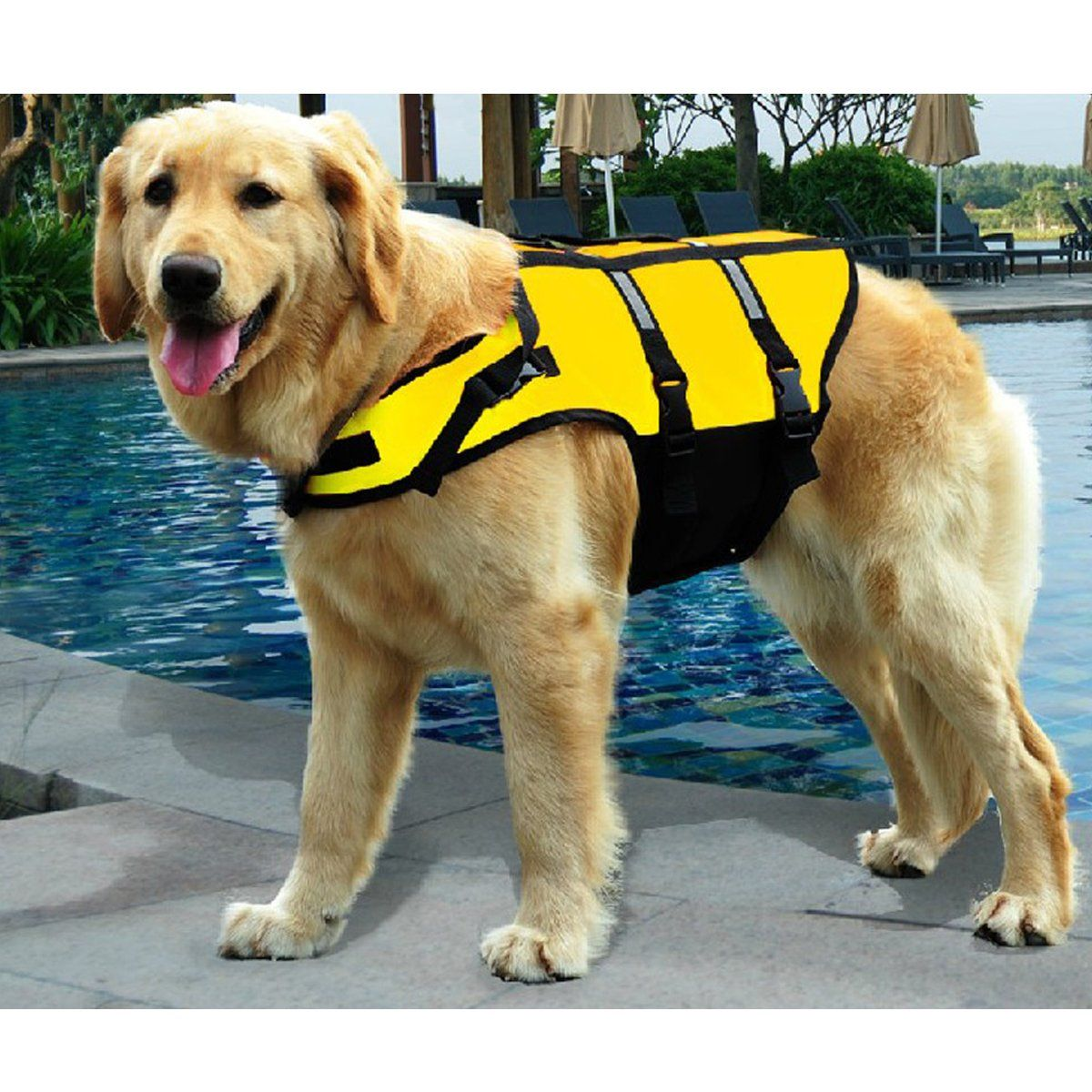 Dog Life Jacket For Dog Lifejacket Lifesaver Safety Reflective Vest Pet Life Preserver With Neck Pad And Reflecting Strip Strong Dog Life Vest Dogs Pet Safety