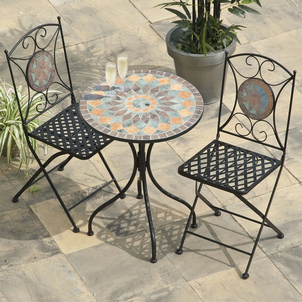 Tangier Mosaic Cast Iron Bistro Set Bistro Set Patio Furniture Sets Outdoor Patio Set