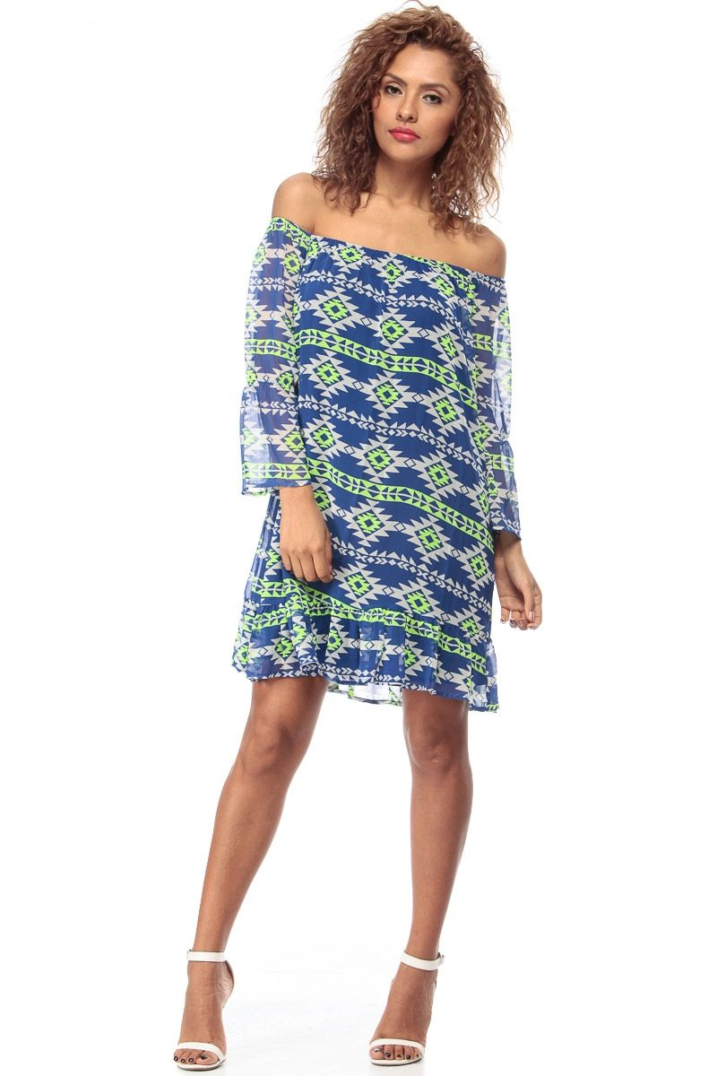 Blue abstract print woven flow off shoulder dress cicihot sexy