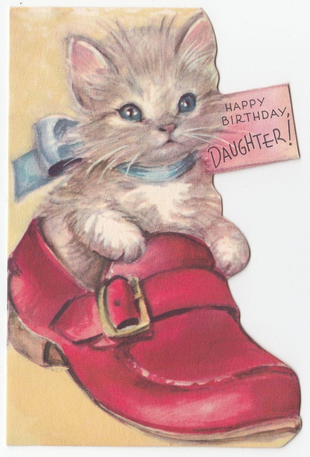 Vintage Greeting Card Cat Kitten Cute Shoe Loafer Die Cut Rust Craft 1940s J873 | eBay