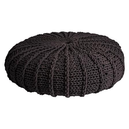 Knitted Pouf, Anthracite Grey, 85cm