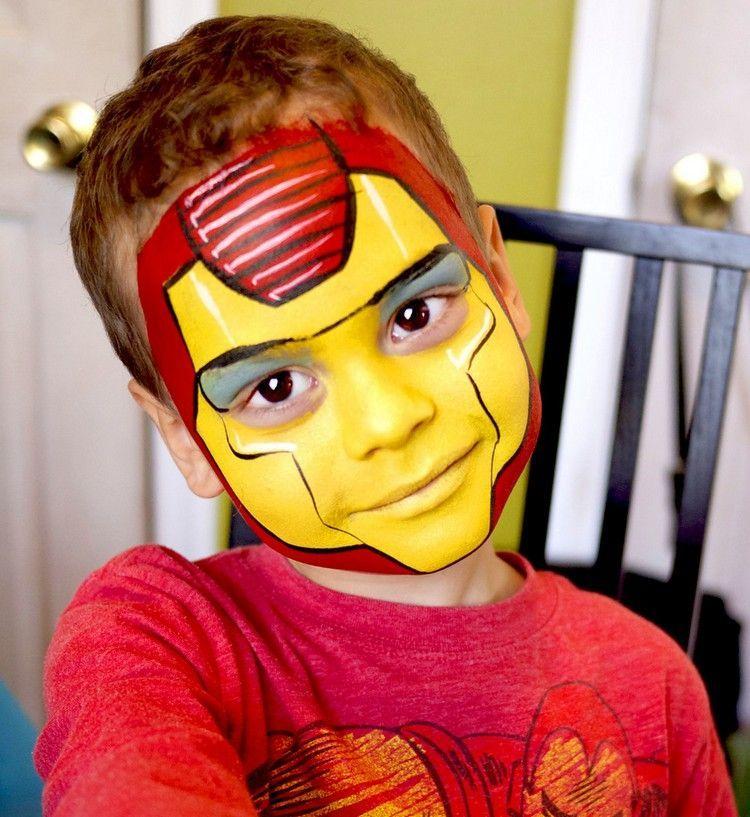 Iron Man Kinderschminken Idee Jungs Maske Schminken Fasching Party Makeup Superhero Face Painting Kids Face Paint Face Painting Halloween
