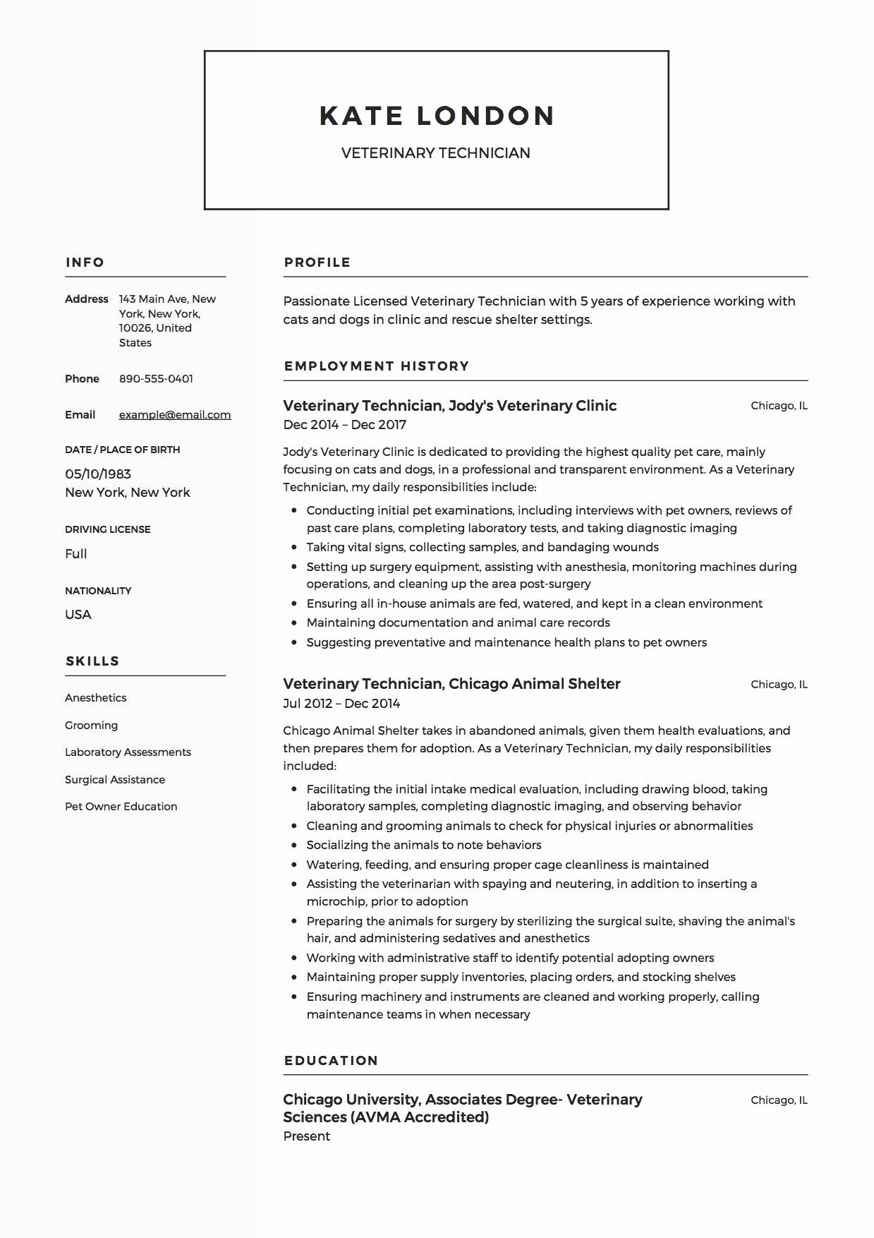 Vet assistant Resume Example Luxury Veterinary Technician