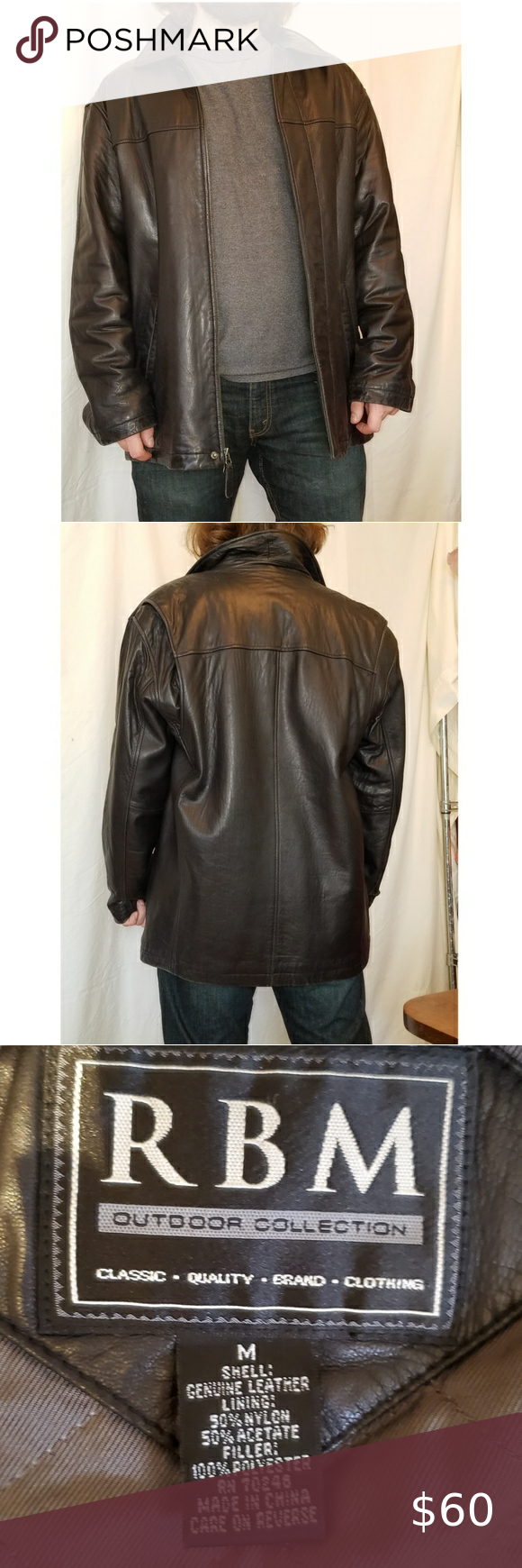 Rbm Outdoor Collection Leather Jacket Sz M Leather Jacket Jackets Leather