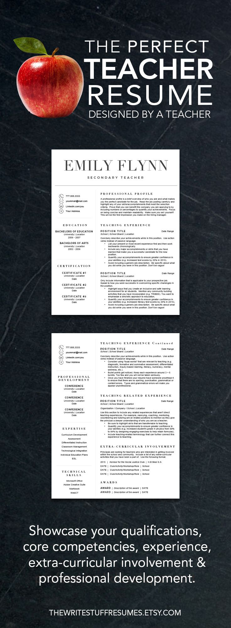 Teacher resume template for Word and Pages (1, 2 and 3