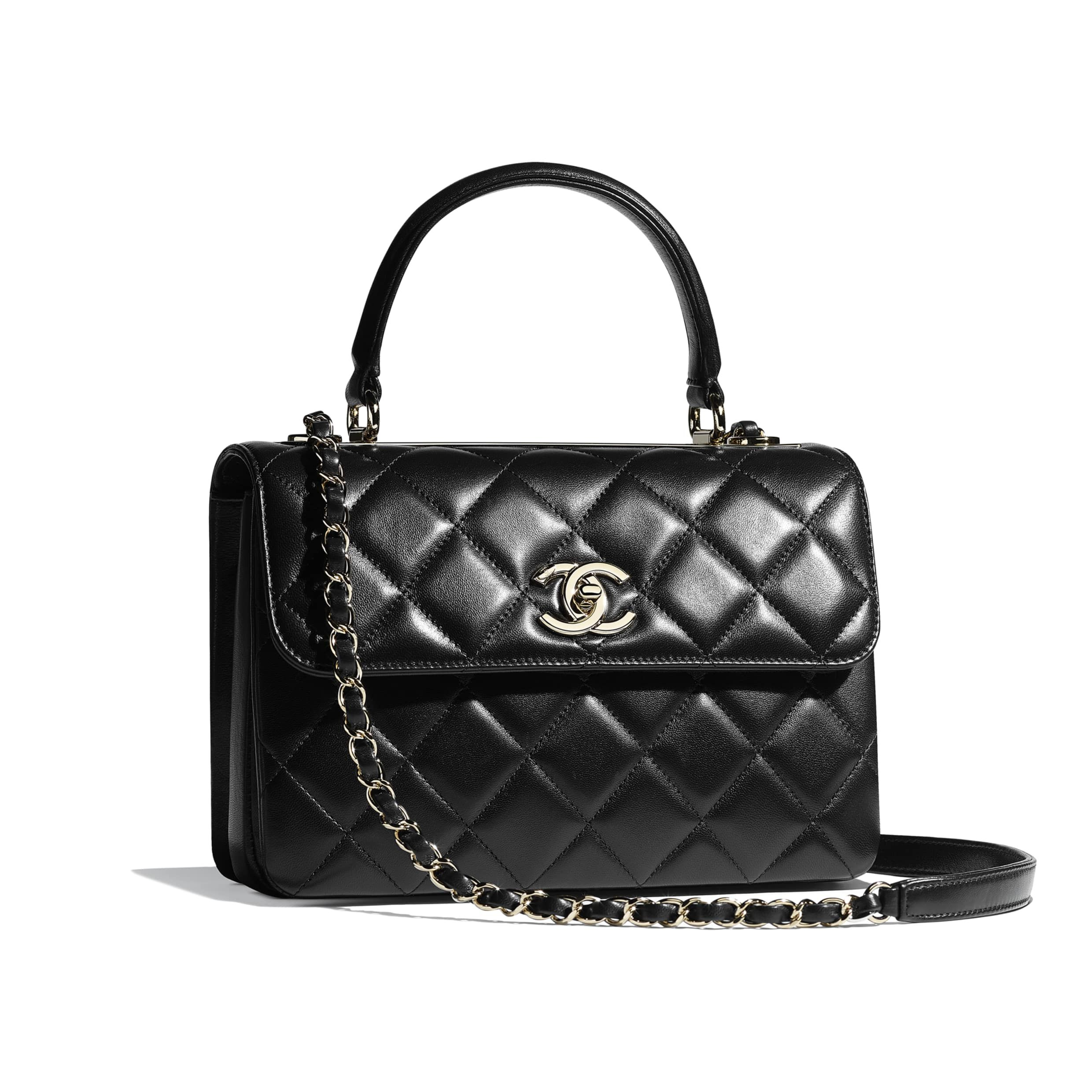 6fe814e240 Small Flap Bag with Top Handle - Black - Lambskin   Gold-Tone Metal - Other  view - see full sized version