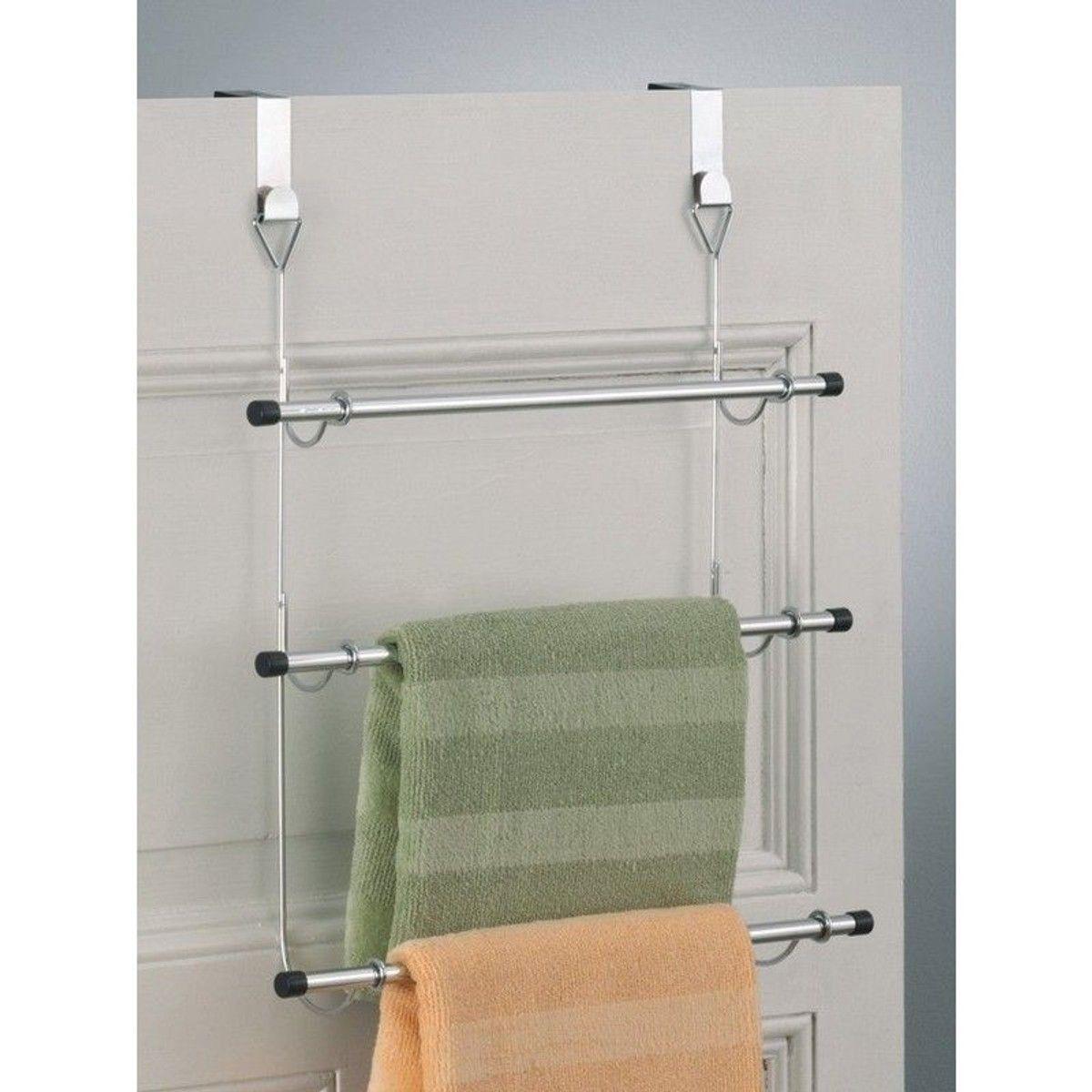 Porte Serviette À Suspendre porte-serviettes à suspendre sur porte métal chromé zeller