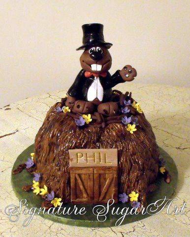 Phil the Groundhog Cake Monkey bread Cake and Fancy cakes