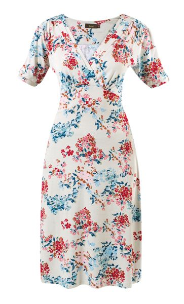 Amari Estelle Dress - White - A knee-length tea dress with pretty floral print in a light jersey fabric #myhigh