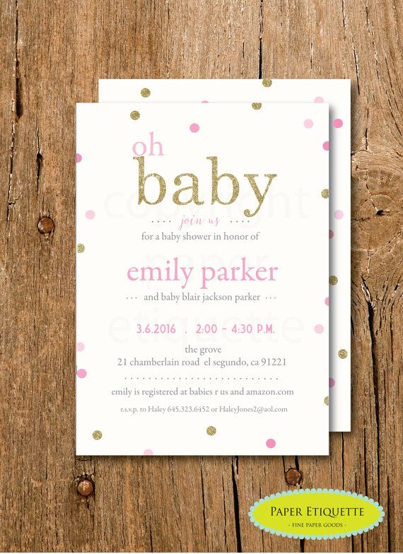 Oh Baby Pink And Gold Shower Invitation S