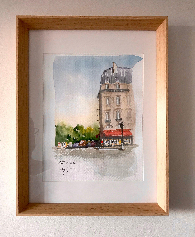 Aquarelle Originale Paris Quai Saint Michel Original Watercolor