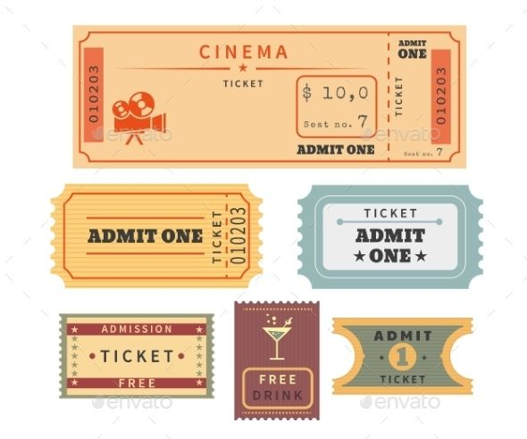 Retro Tickets Set With Images Cinema Ticket Template Ticket