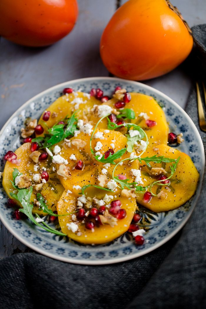 Photo of Kaki carpaccio with pomegranate, feta and walnuts – Kaki at it's best – Kuechenchaotin