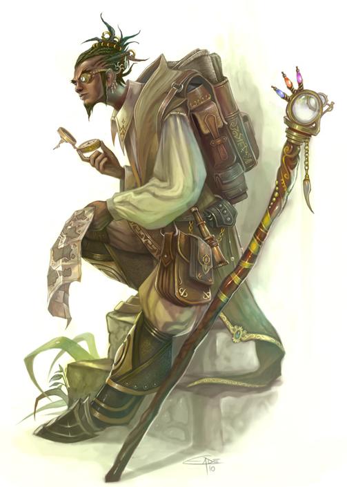 m Half Elf Wizard traveller staff backpack scrolls Enchanter