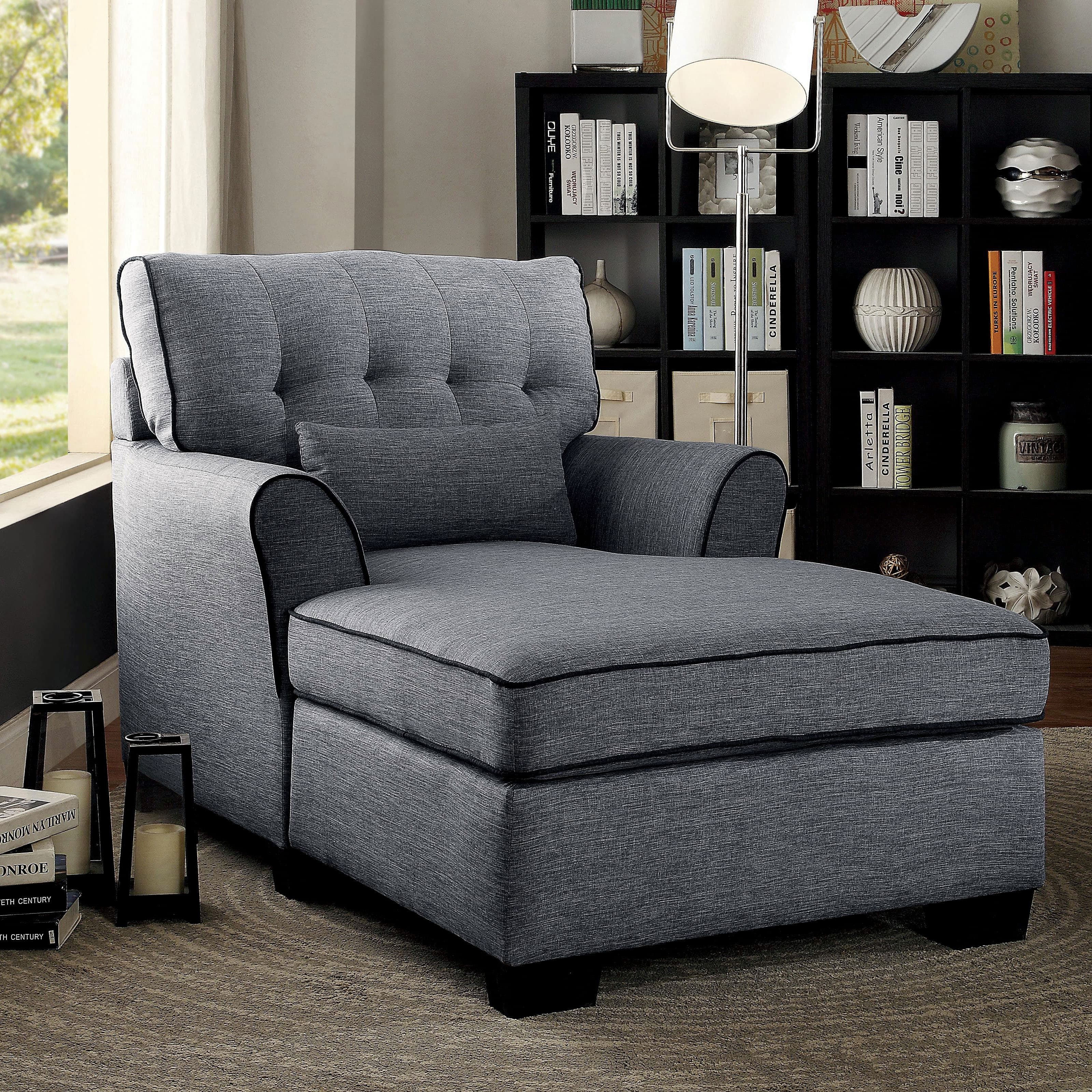 furniture of america tiana contemporary button tufted linen chaise