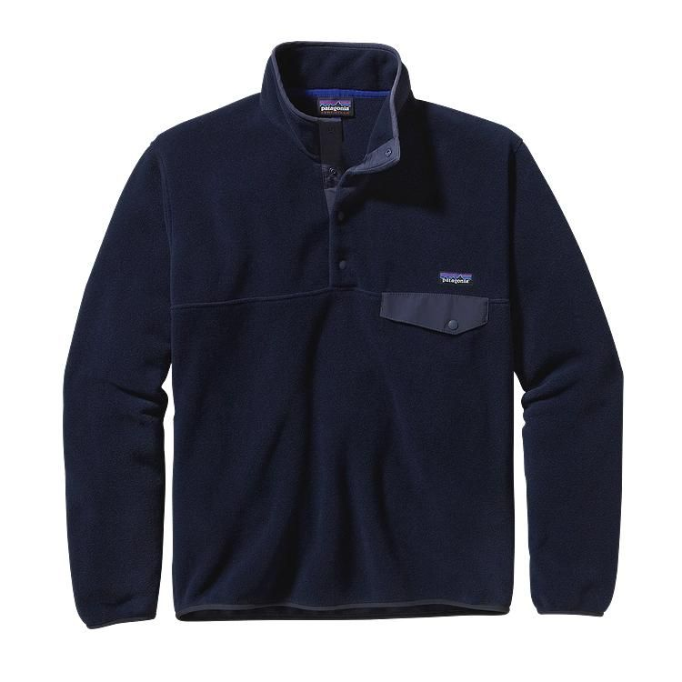 Patagonia Men\'s Lightweight Synchilla\u00AE Snap-T\u00AE Fleece Pullover - Navy Blue NVYB