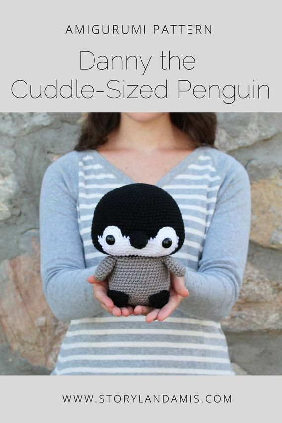 PATTERN: Cuddle-Sized Penguin Amigurumi, Crocheted Baby Penguin, Toy Tutorial, PDF Crochet Pattern, Holiday Winter Crochet #stuffedtoyspatterns