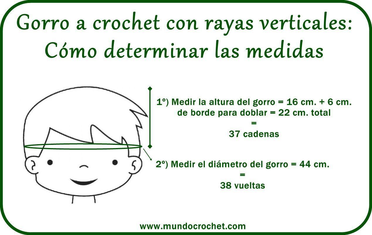 Medir un gorro http://www.mundocrochet.com/gorro-crochet-con-rayas ...