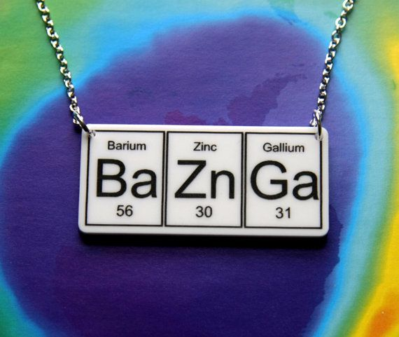 BAZINGA....White  BaZnGa   Necklace  silver plated chain ... periodic table inspired jewelery on Etsy, $20.67 AUD