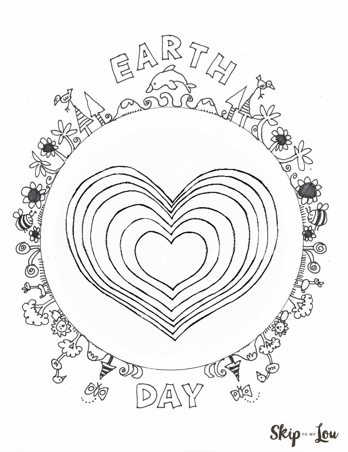 Earth Day Coloring Page With Heart Earth Day Coloring Pages