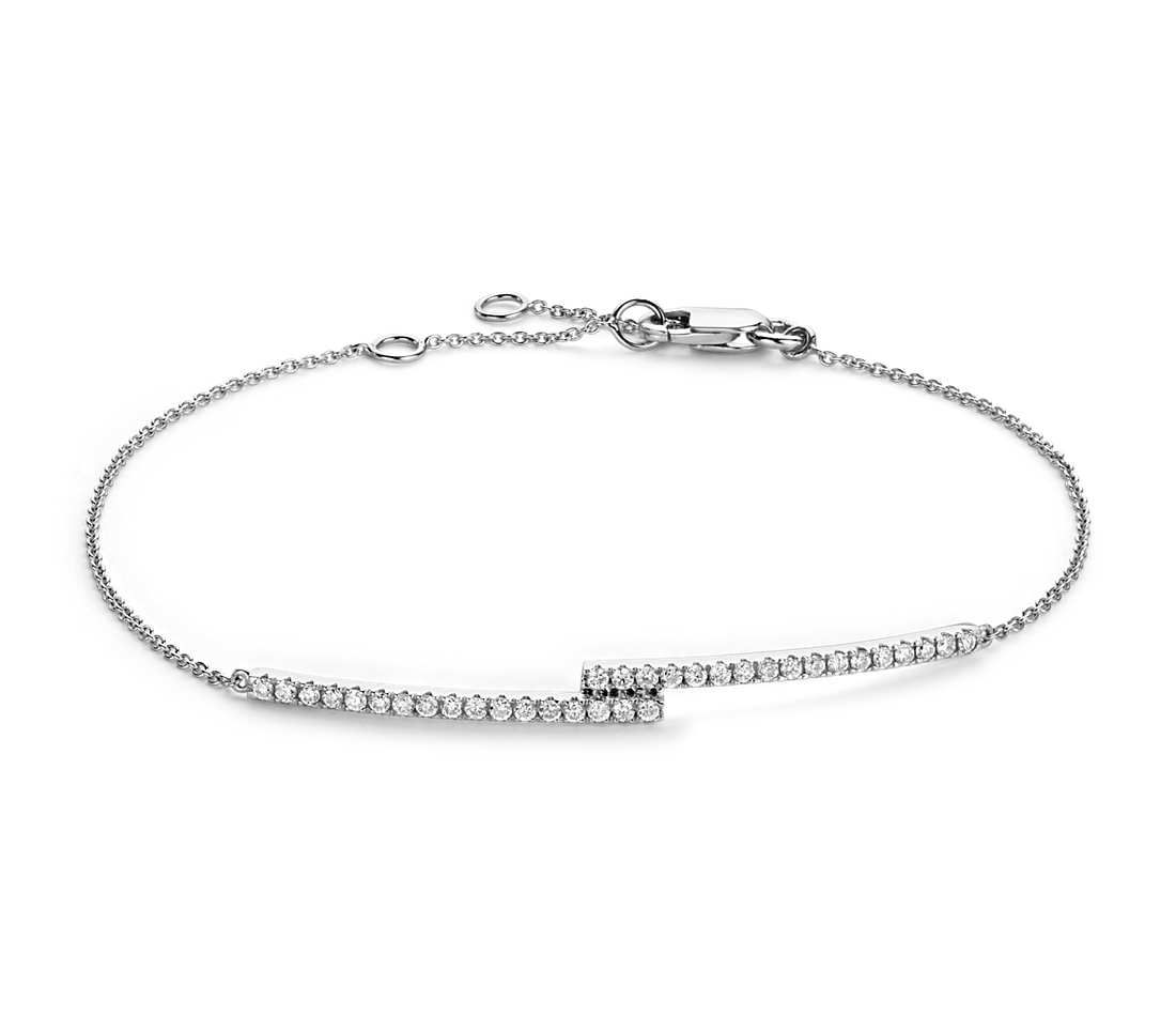 Diamond Bar Bracelet in k White Gold ct tw Bracelet set