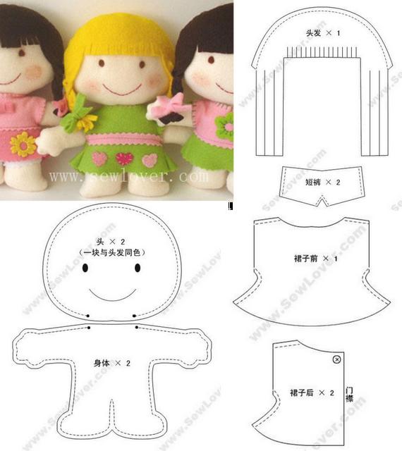 doll pattern   cositas para niños   Pinterest   Fieltro, Muñecas y Molde