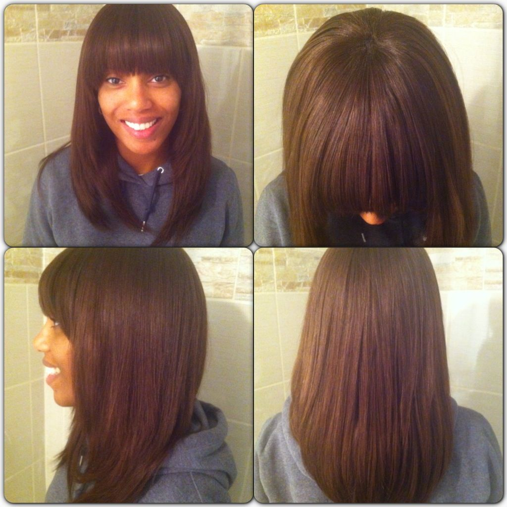 Sew In Hairstyles Long Hair Switch It Up Full Weave With Bangs Feat Ebony Bobs Bangs And